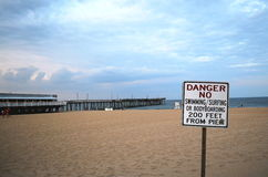 Sinal do perigo na praia Imagens de Stock