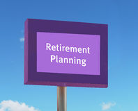 Sinal do planeamento de aposentação Fotografia de Stock Royalty Free