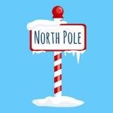 Sinal do Polo Norte do ícone do Natal com neve e gelo, símbolo do xmas do feriado de inverno, bandeira dos desenhos animados Foto de Stock