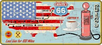 Sinal do posto de gasolina da rota 66 e mapa de estradas sujos, grung retro ilustração stock