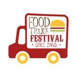 Sinal do Promo do festival do alimento do café do caminhão do alimento, molde colorido do projeto do vetor com a silhueta vermelh Foto de Stock Royalty Free