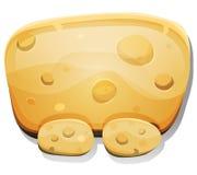 Sinal do queijo dos desenhos animados para o jogo de Ui Fotos de Stock