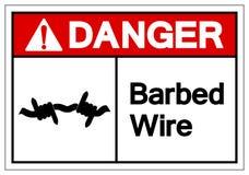 Sinal do símbolo do arame farpado do perigo, ilustração do vetor, isolada na etiqueta branca do fundo EPS10 ilustração do vetor