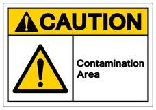 Sinal do símbolo da área da contaminação do cuidado, ilustração do vetor, isolado na etiqueta branca do fundo EPS10 ilustração do vetor