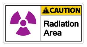 sinal do símbolo da área da radiação do cuidado do símbolo no fundo branco, ilustração do vetor ilustração stock