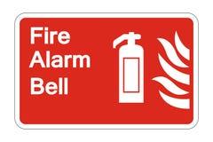 sinal do símbolo da segurança de Bell de alarme de incêndio do símbolo no fundo branco, ilustração do vetor ilustração stock