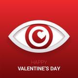Sinal do ` s do Valentim Olho com coração no aluno Foto de Stock Royalty Free