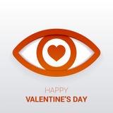 Sinal do ` s do Valentim Olho com coração no aluno Fotos de Stock
