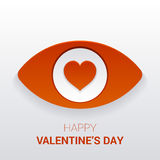 Sinal do ` s do Valentim Olho com coração no aluno Fotos de Stock Royalty Free