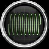 Sinal do seno na tela do osciloscópio em tons verdes Foto de Stock