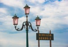 Sinal do serviço da gôndola, Veneza, Italy Fotos de Stock