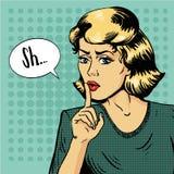Sinal do silêncio da mostra da mulher Ilustração do vetor no estilo retro do pop art A mensagem Shhh para a parada que fala e sej ilustração stock