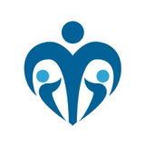 Sinal do social da proteção das crianças Logotipo dos azuis marinhos da puericultura Ilustração isolada Vetor Fotos de Stock Royalty Free