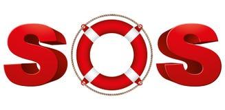 Sinal do SOS com anel de vida ilustração royalty free