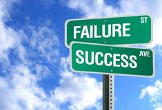Sinal do sucesso e da falha com nuvens Fotos de Stock Royalty Free