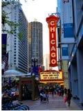 Sinal do teatro de Chicago fotografia de stock