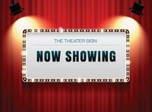 Sinal do teatro na cortina imagem de stock