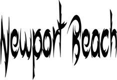 Sinal do texto da praia de Newport Fotos de Stock Royalty Free
