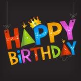 Sinal do texto do feliz aniversario Fotografia de Stock