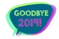Sinal do texto que mostra adeus 2019 Bolha conceptual do discurso da transição de Eve Milestone Last Month Celebration do ano nov ilustração stock