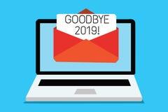 Sinal do texto que mostra adeus 2019 Computador conceptual da transição de Eve Milestone Last Month Celebration do ano novo da fo ilustração do vetor