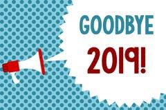 Sinal do texto que mostra adeus 2019 Megafone conceptual da transição de Eve Milestone Last Month Celebration do ano novo da foto ilustração stock