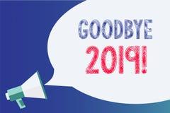 Sinal do texto que mostra adeus 2019 Megafone conceptual da transição de Eve Milestone Last Month Celebration do ano novo da foto ilustração royalty free