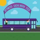 Sinal do texto que mostra a alimentação social aperfeiçoada dos meios Alimentações digitais da otimização conceptual do Search En ilustração royalty free