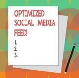 Sinal do texto que mostra a alimentação social aperfeiçoada dos meios Pilha digital das alimentações da otimização conceptual do  ilustração do vetor
