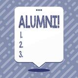 Sinal do texto que mostra alunos Celebração graduada velha da academia da faculdade do recolhimento do pós-graduado do alume conc ilustração stock