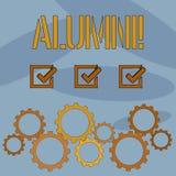 Sinal do texto que mostra alunos Celebração graduada velha da academia da faculdade do recolhimento do pós-graduado do alume conc ilustração royalty free