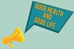 Sinal do texto que mostra a boa saúde e a boa vida A saúde conceptual da foto é um recurso para viver uma vida completa foto de stock royalty free