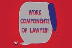 Sinal do texto que mostra componentes do trabalho do advogado Os acordos conceptuais das decisões dos documentos das leis dos adv ilustração royalty free