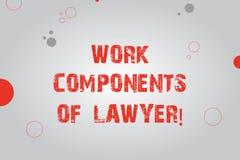 Sinal do texto que mostra componentes do trabalho do advogado Placa conceptual dos acordos das decisões dos documentos das leis d ilustração royalty free