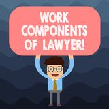 Sinal do texto que mostra componentes do trabalho do advogado Posição conceptual do homem dos acordos das decisões dos documentos ilustração royalty free