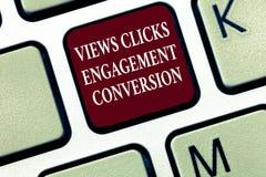 Sinal do texto que mostra a conversão do acoplamento dos cliques das vistas Otimização social da plataforma dos meios da foto con foto de stock royalty free