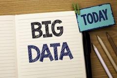 Sinal do texto que mostra dados grandes Armazenamento enorme do base de dados de Bigdata do Cyberspace da tecnologia da informaçã fotos de stock