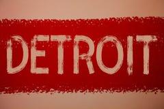 Sinal do texto que mostra Detroit Cidade conceptual da foto na capital do Estados Unidos da América do pai do vermelho das mensag imagem de stock
