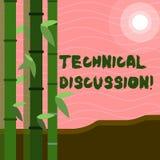 Sinal do texto que mostra a discussão técnica Conversação ou debate conceptual da foto sobre uma edição técnica específica ilustração stock