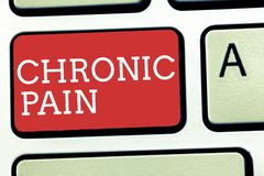 Sinal do texto que mostra a dor crônica Dor conceptual da foto que estende além do período previsto de cura foto de stock royalty free