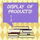 Sinal do texto que mostra a exposição dos produtos Maneira conceptual da foto para atrair e tentar o público de compra que usa a  ilustração royalty free
