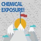Sinal do texto que mostra a exposição química Foto conceptual que toca, produtos químicos prejudiciais três respirando, comendo o ilustração stock