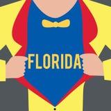 Sinal do texto que mostra Florida Estado conceptual da foto na região do sudeste de praias ensolaradas do lugar do Estados Unidos ilustração do vetor