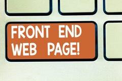 Sinal do texto que mostra Front End Web Page Foto conceptual que converte dados na relação gráfica para a chave de teclado dos us foto de stock royalty free