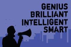 Sinal do texto que mostra a gênio Smart inteligente brilhante Homem brilhante inteligente da inteligência do conhecimento da foto ilustração royalty free