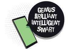 Sinal do texto que mostra a gênio Smart inteligente brilhante Telefone celular brilhante inteligente da inteligência do conhecime ilustração do vetor
