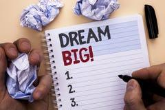 Sinal do texto que mostra grande ideal Ideia conceptual do desafio da estratégia da visão do sonho do alvo do plano da motivação  Foto de Stock Royalty Free