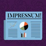 Sinal do texto que mostra Impressum Foto conceptual autoria gravada impressa da posse da indicação de Geranalysis da impressão ilustração royalty free