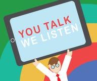Sinal do texto que mostra lhe a conversa nós escutamos Conversação inspirador conceptual de uma comunicação em dois sentidos da f ilustração do vetor