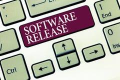 Sinal do texto que mostra a liberação de software Soma conceptual da foto das fases do desenvolvimento e da maturidade para o pro imagens de stock royalty free